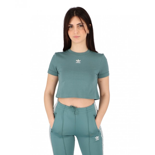 Adidas T-Shirt Donna Verde Crop Top Hazy Emerald