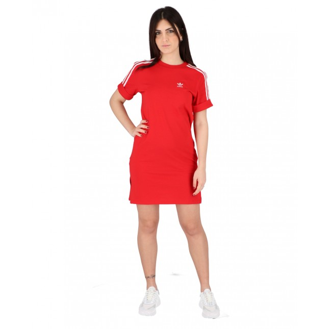 Adidas Abito Donna Rosso Tee Dress Scarlet