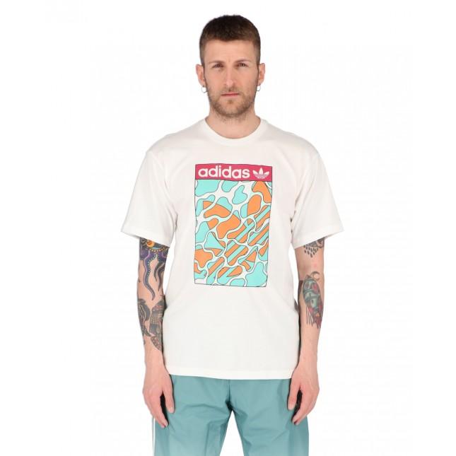 Adidas T-Shirt Uomo Bianca Summer Tongue Label Tee White