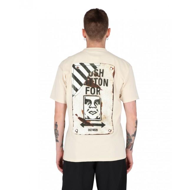 Obey T-Shirt Uomo Crema Crosswalk Sign Classic Tee Cream