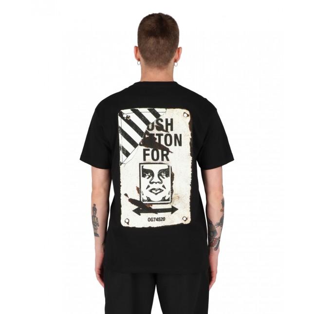 Obey T-Shirt Uomo Nera Crosswalk Sign Classic Tee Black
