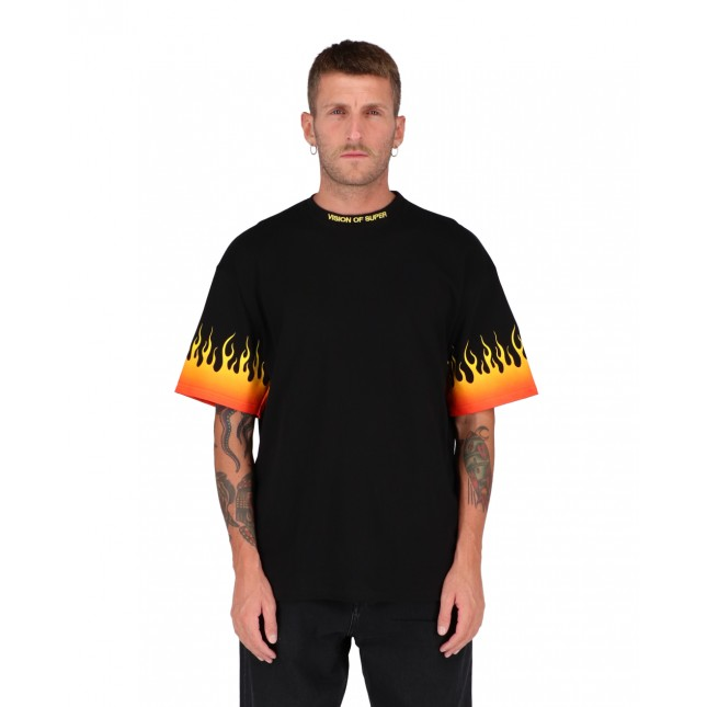 Vision of Super Shaded Red Flames Tee Black