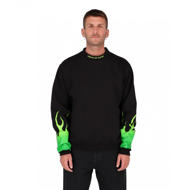 Vision of Super Shaded Green Flames Crewneck Black