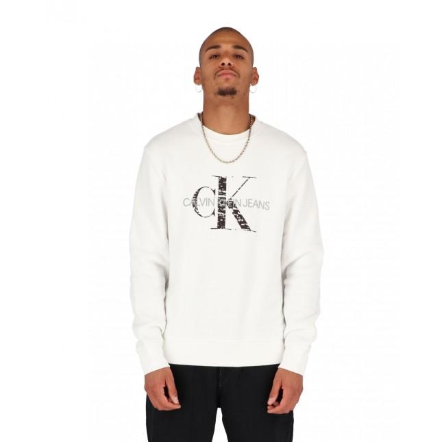 Calvin Klein Jeans Bonded Monogram Crewneck Bright White