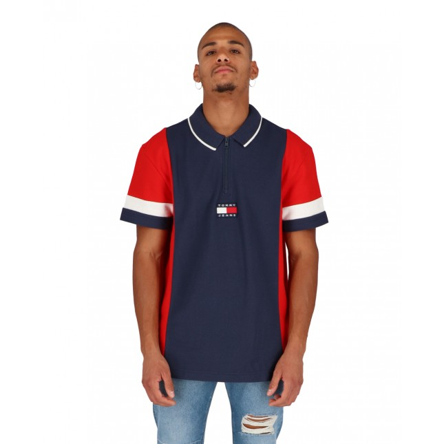 Tommy Jeans Relaxed Zip Colorblock Polo Twilight Navy / Red / White
