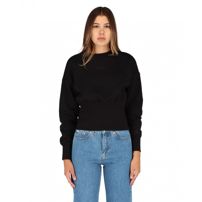 Calvin Klein Jeans Back Tape High Hem Sweatshirt CK Black