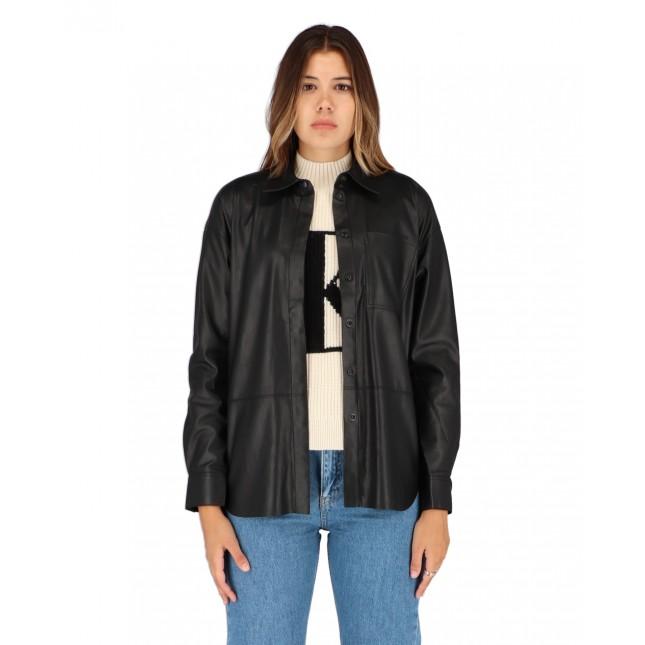 Calvin Klein Jeans Faux Leather Overshirt CK Black