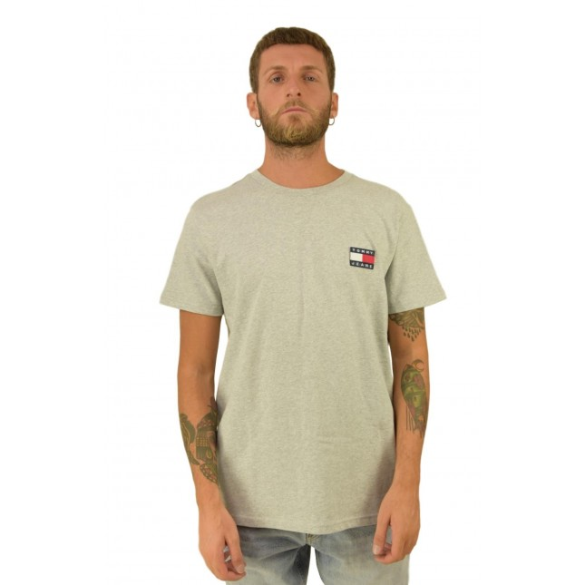 Tommy Jeans T-Shirt Uomo Grigia Badge Tee Light Grey Heather