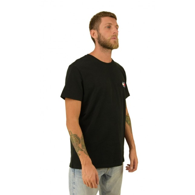 Tommy Jeans T-Shirt Uomo Nera Badge Tee Tommy Black