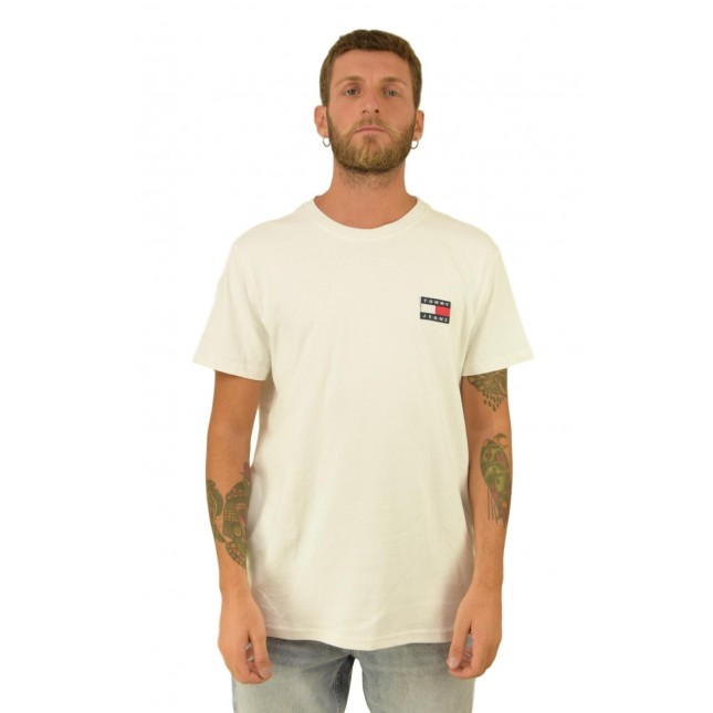 Tommy Jeans T-Shirt Uomo Bianca Badge Tee Classic White