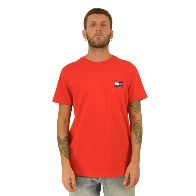Tommy Jeans T-Shirt Uomo Rossa Badge Tee Flame Scarlet