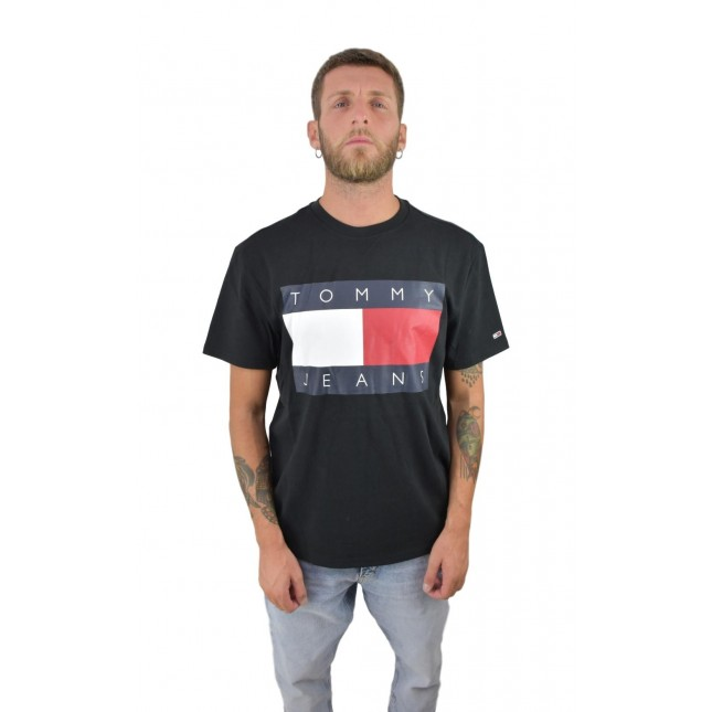 Tommy Jeans T-Shirt Uomo Nera Flag Tee Tommy Black