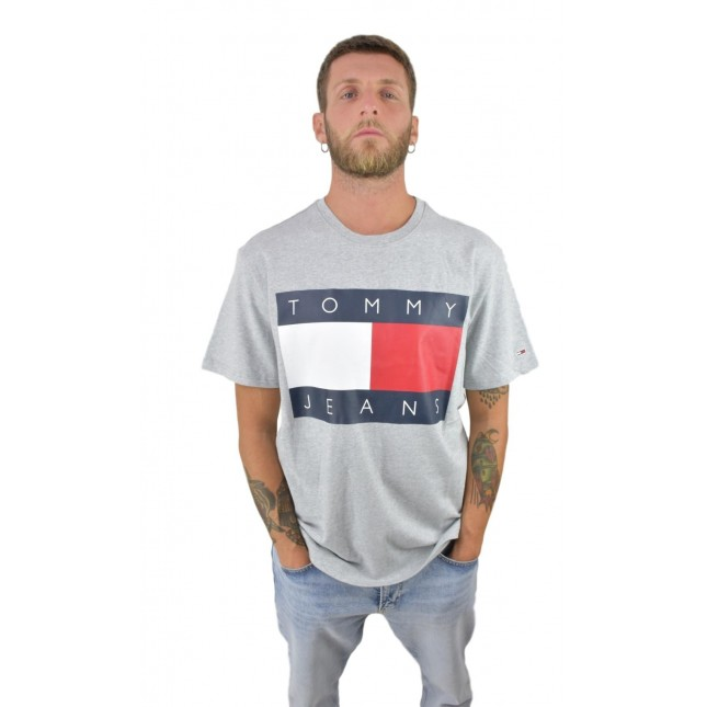 Tommy Jeans T-Shirt Uomo Grigia Flag Tee Light Grey Heather
