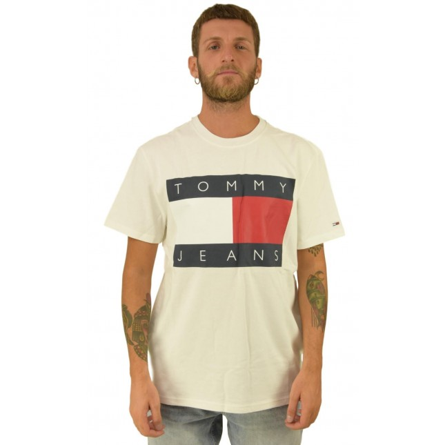 Tommy Jeans T-Shirt Uomo Bianca Flag Tee Classic White