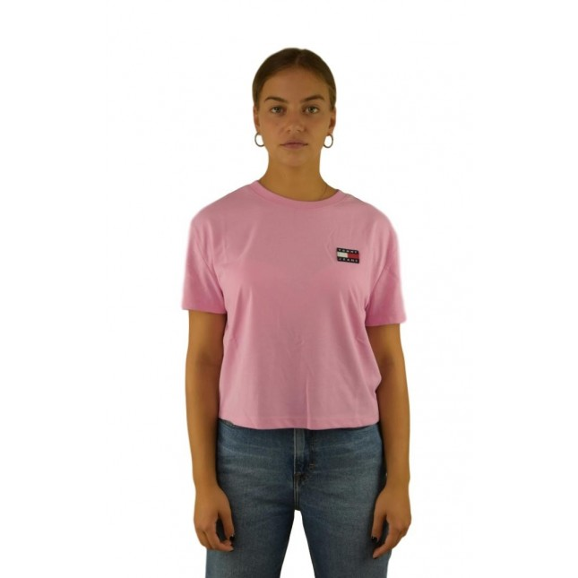 Tommy Jeans T-Shirt Donna Rosa Badge Tee Lilac Chiffon