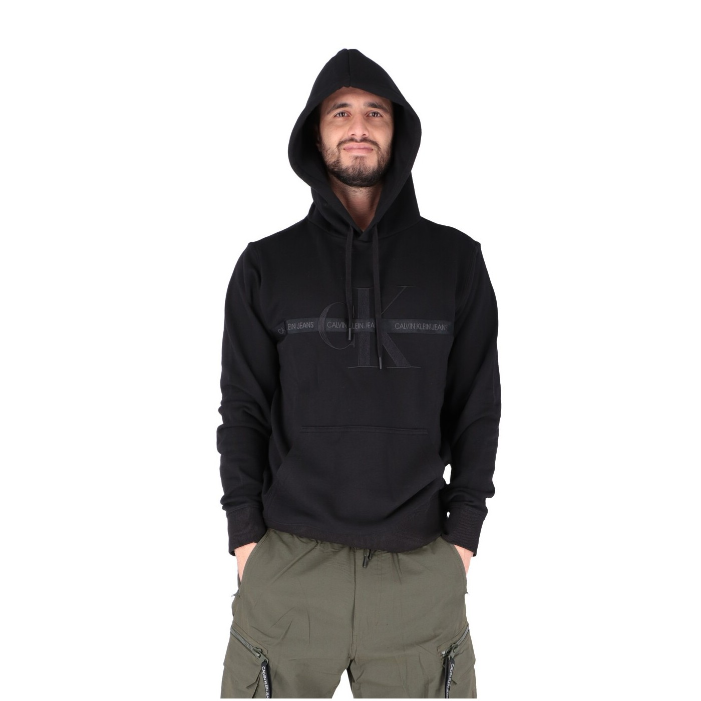 Calvin Klein Felpa Donna Taping Through Monogram Hoodie CK Black