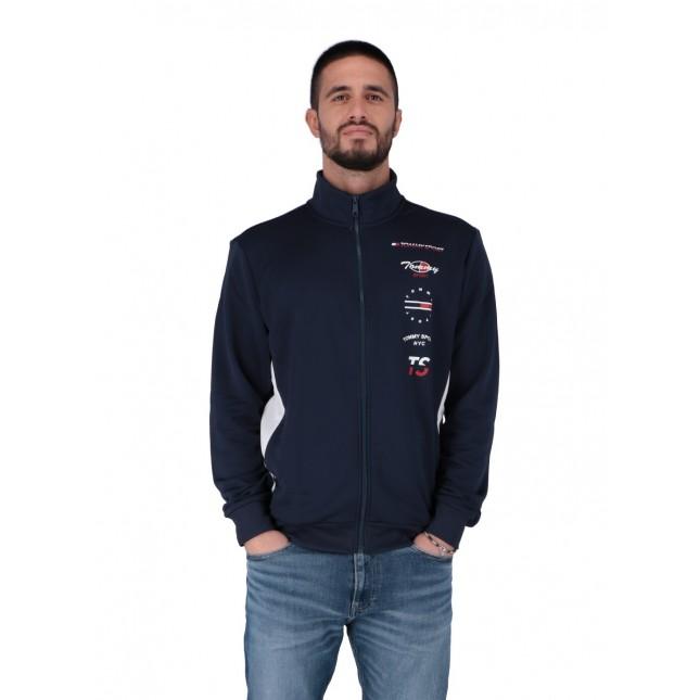 Tommy Sport Felpa Uomo Blu Graphics Track Jacket Sport Navy
