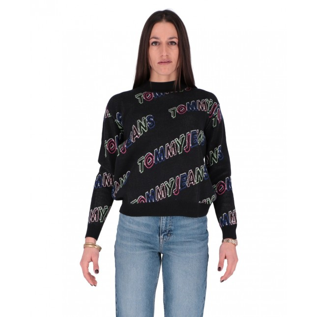 Tommy Jeans Pullover Donna Outline Print Sweater Tommy Black