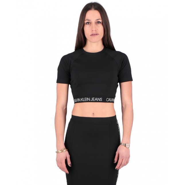 Calvin Klein T-Shirt Donna Nera Logo Elastic Milano Top CK Black