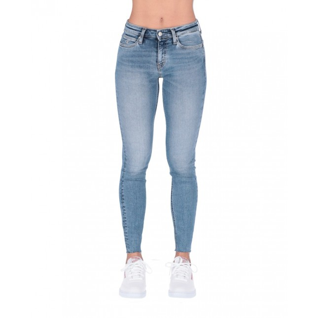 Calvin Klein Jeans Donna Mid Rise Skinny Ankle Mid Blue Released Hem