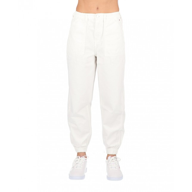 Tommy Jeans Pantaloni Donna Bianchi High Rise Elasticated Pants Classic White Twill