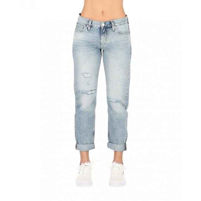 Calvin Klein Jeans Donna Mid Rise Boyfriend Mid Blue DSTR Monogram