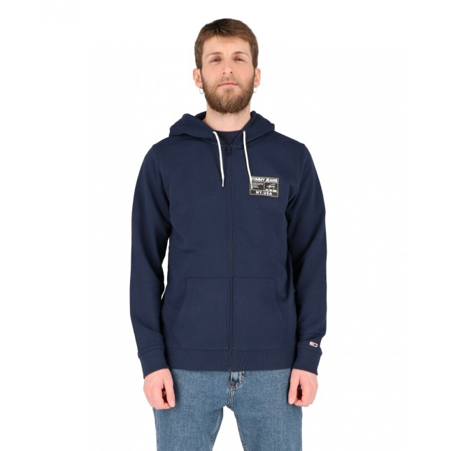 Tommy Jeans Felpa Uomo Blu Logo Zip Thru Twilight Navy