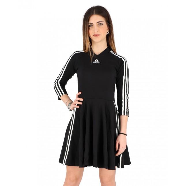 Adidas Abito Donna Nero W 3 Stripes Dress Black
