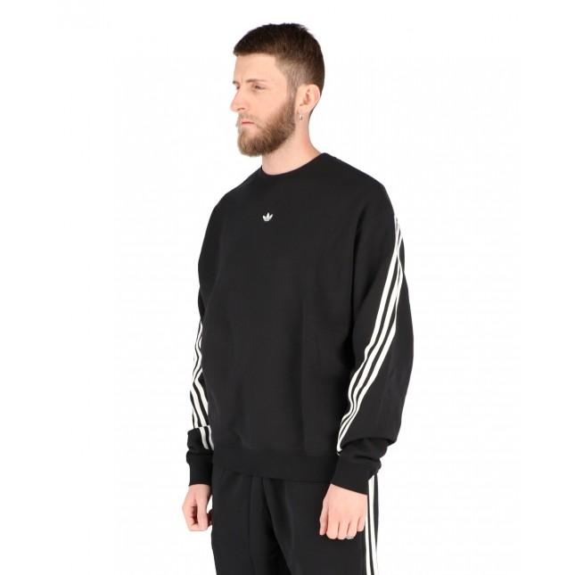 felpa adidas uomo 3 stripes nera