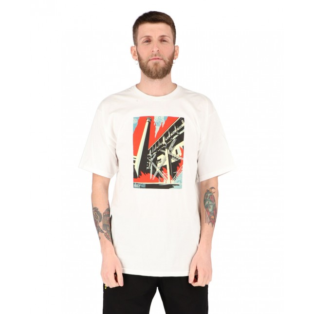 Obey T-Shirt Uomo Bianca Fossil Factory Basic Tee White