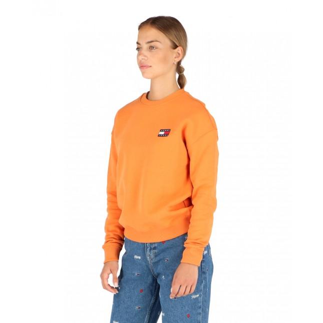 Tommy Jeans Felpa Donna Arancio Badge Crew Rustic Orange