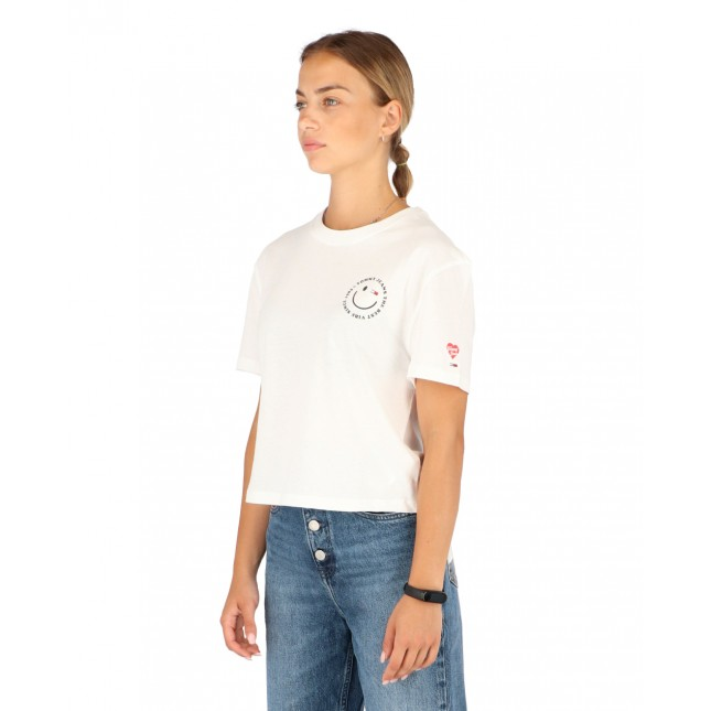 Tommy Jeans T-Shirt Donna Bianca Summer Smiley Back Tee White