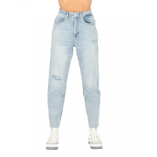 Tommy Jeans Donna Mom Jeans High Rise Tapered Cony Light Blue Comfort Destructed