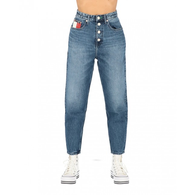Tommy Jeans Donna Mom Jean High Rise Tapered Save PF Mid Blue Rigid
