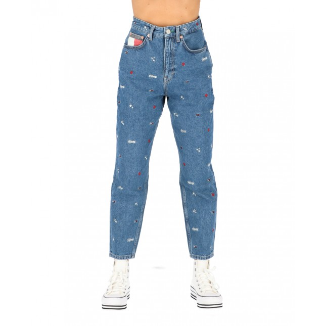 Tommy Jeans Donna Mom Jeans High Rise Tapered Star Critter Blue Rigid