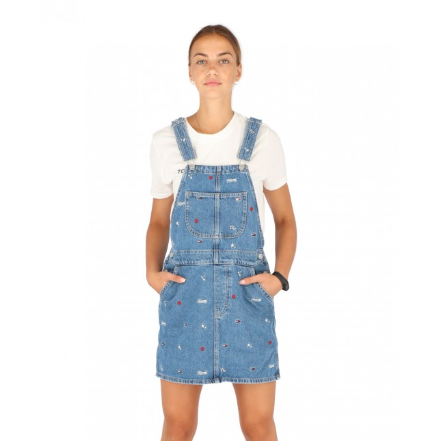 Tommy Jeans Salopette Donna Classic Dungaree Dress Star Critter Blue Rigid