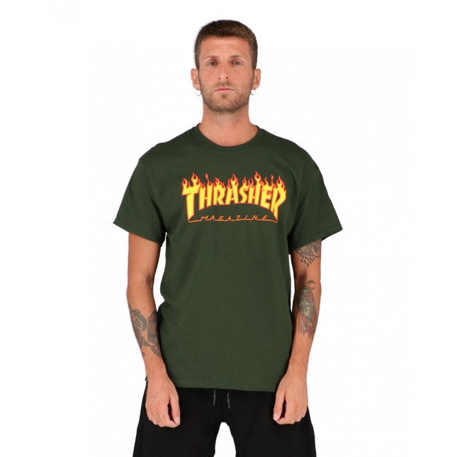 Thrasher T-Shirt Uomo Verde Flame Forest Green