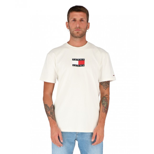 Tommy Jeans T-Shirt Uomo Bianca Small Flag Tee White