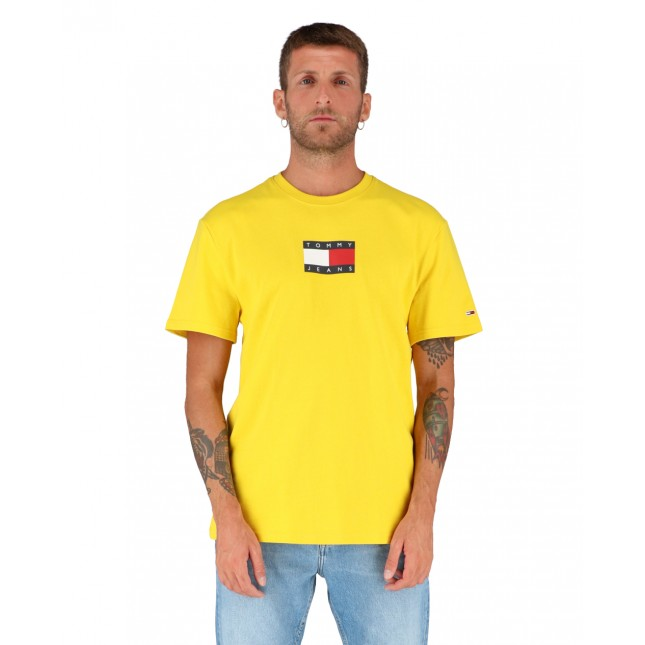 Tommy Jeans T-Shirt Uomo Gialla Small Flag Tee Star Fruit Yellow