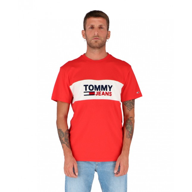 Tommy Jeans T-Shirt Uomo Rossa Pieced Band Logo Tee Deep Crimson
