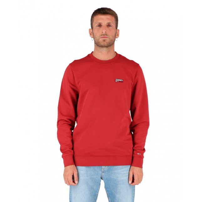 Tommy Jeans Felpa Uomo Bordeaux Washed Corp Logo Crew Wine Red