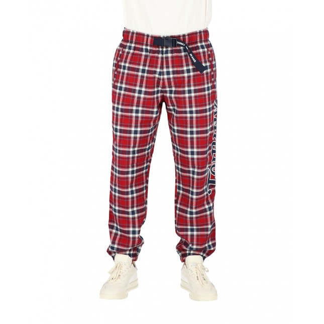 Tommy Jeans Pantaloni Uomo Plaid Windbreaker Pants Wine Red / Check