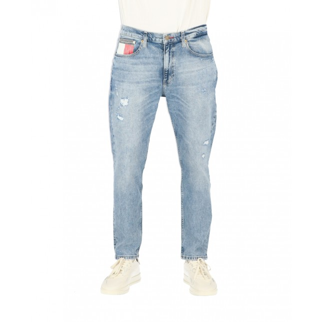 Tommy Jeans Uomo Rey Relaxed Tapered Philly Light Blue Comfort Destructed