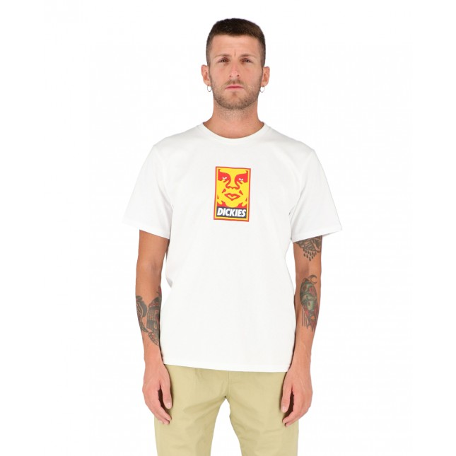 Obey x Dickies T-Shirt Uomo Bianca OBY6 Heavyweight Tee White