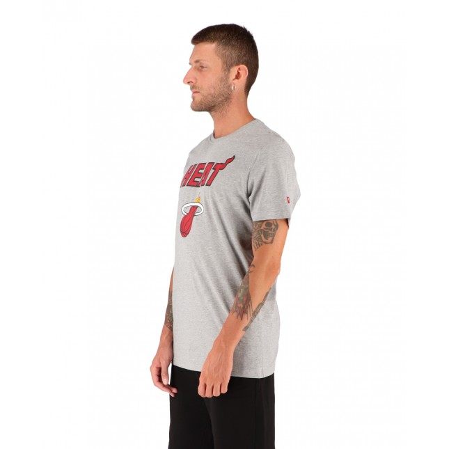 New Era T-Shirt Uomo Grigia NBA Miami Heat Light Grey Heather