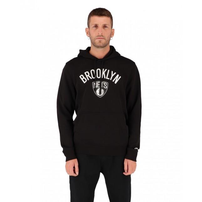 New Era Felpa Uomo Nera NBA Brooklyn Nets Hoodie Black