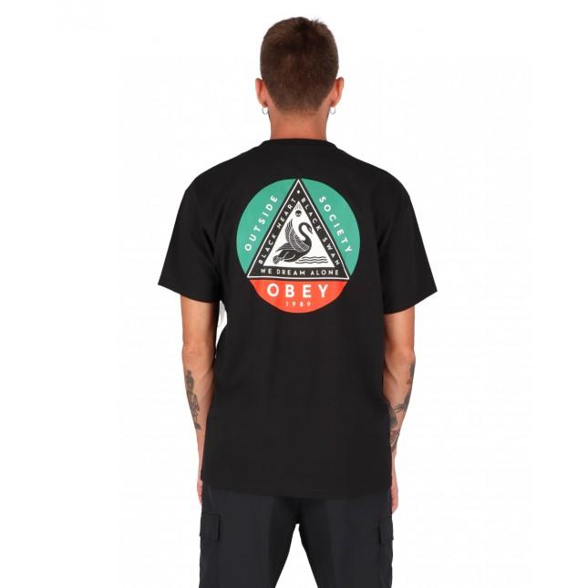 Obey T-Shirt Uomo Nera Black Swan Classic Tee Black