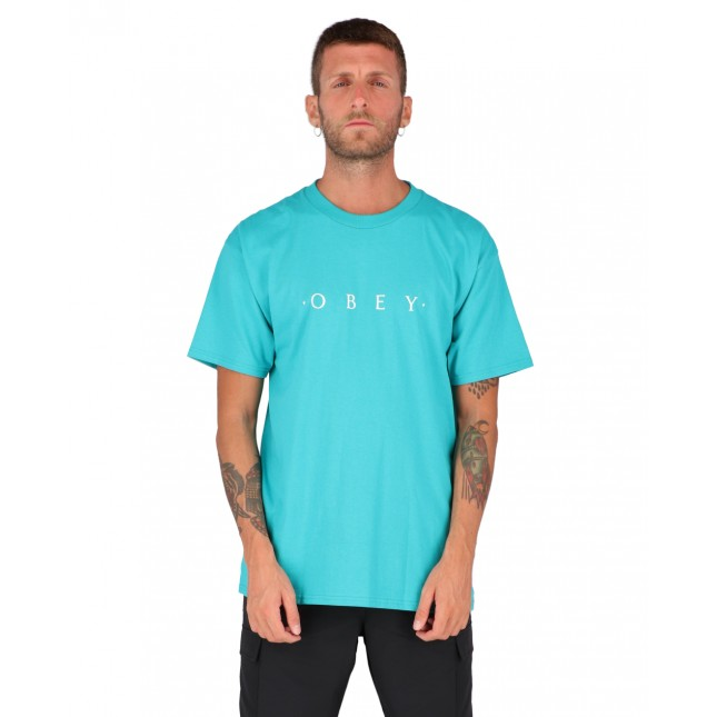 Obey T-Shirt Uomo Verde Novel Classic Tee Teal
