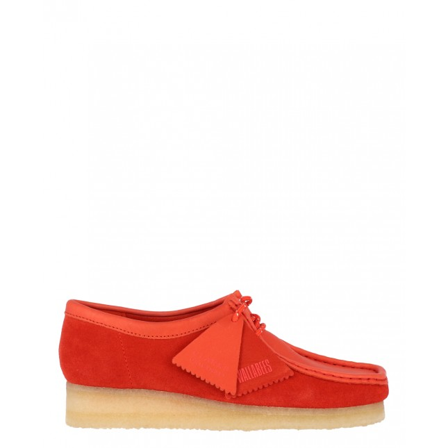 Clarks Scarpa Donna Wallabee Boot Red Combi Suede