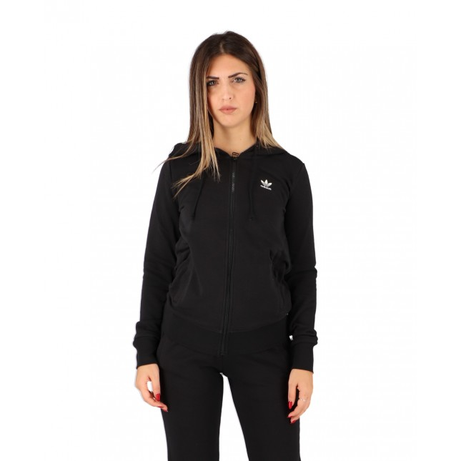 Adidas Felpa Donna Nera Trefoil Zip Hoodie Black